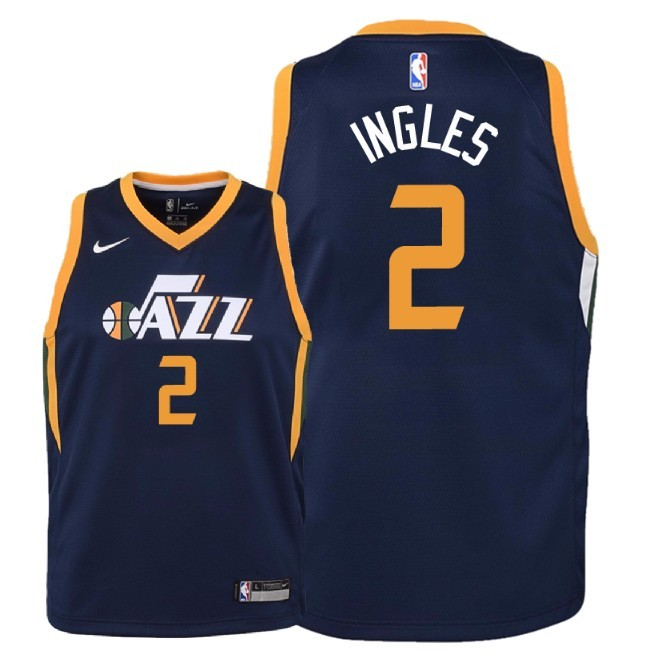 Camisetas NBA Niño Utah Jazz NO.2 Joe Ingles Marino Icon 2018 Barats