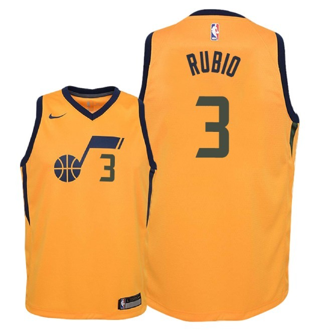 Camisetas NBA Niño Utah Jazz NO.3 Ricky Rubio Amarillo Statement 2018 Barats