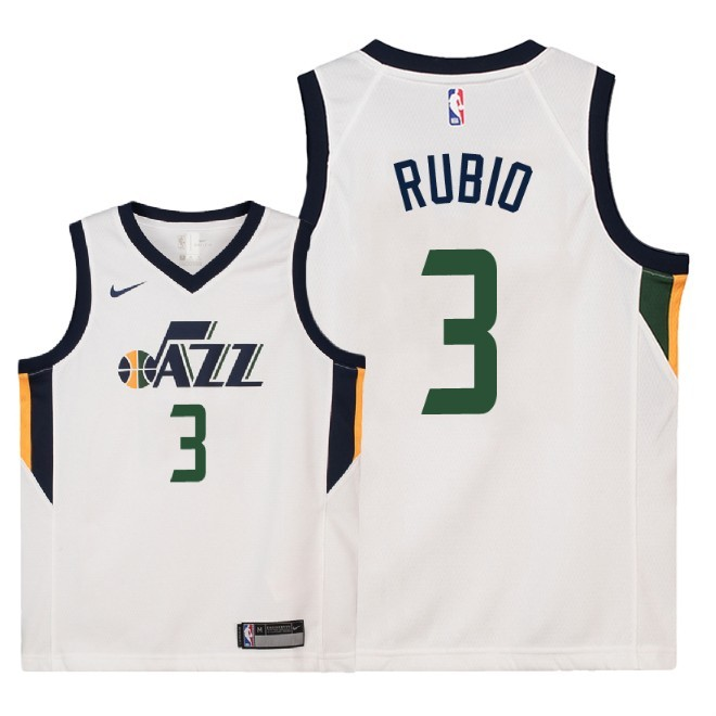 Camisetas NBA Niño Utah Jazz NO.3 Ricky Rubio Blanco Association 2018 Barats