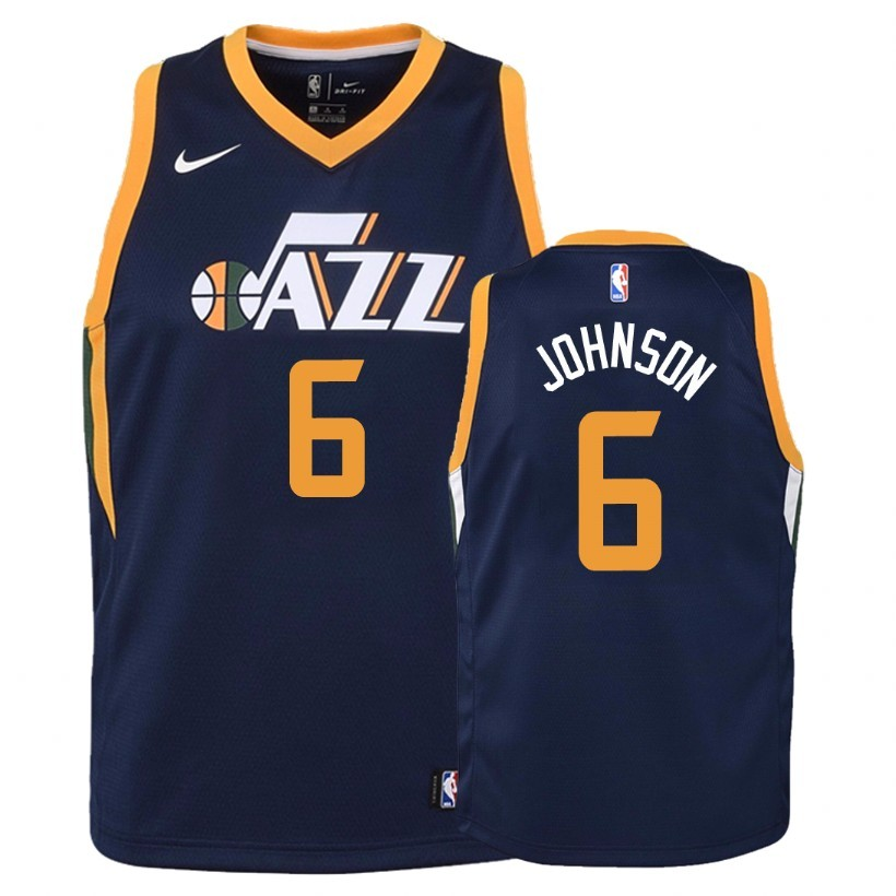 Camisetas NBA Niño Utah Jazz NO.6 Joe Johnson Marino Icon 2018 Barats