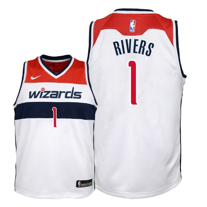 Camisetas NBA Niño Washington Wizards NO.1 Austin Rivers Blanco Association 2018 Barats