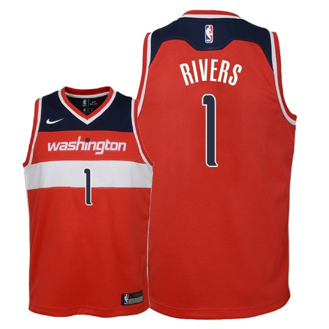 Camisetas NBA Niño Washington Wizards NO.1 Austin Rivers Rojo Icon 2018 Barats