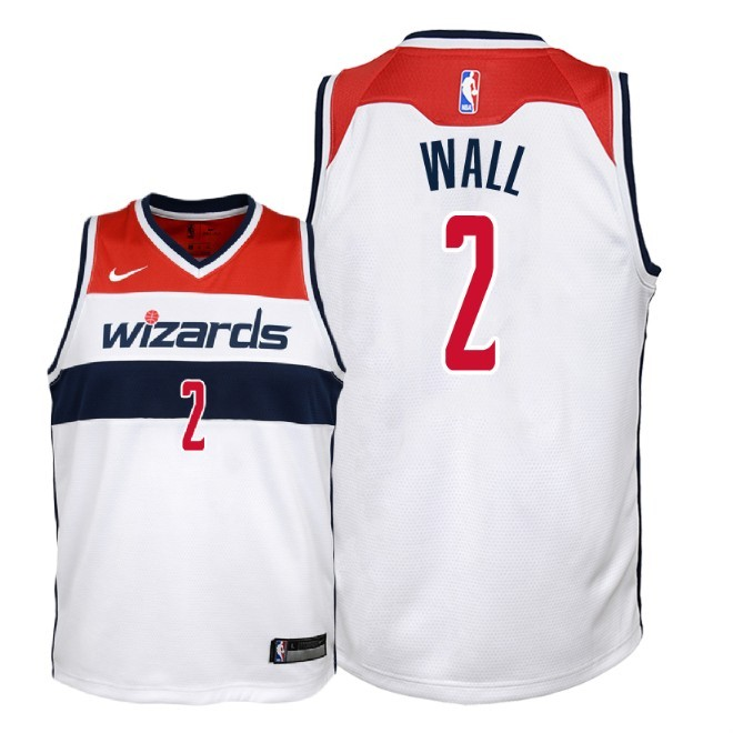 Camisetas NBA Niño Washington Wizards NO.2 John Wall Blanco Association 2018 Barats