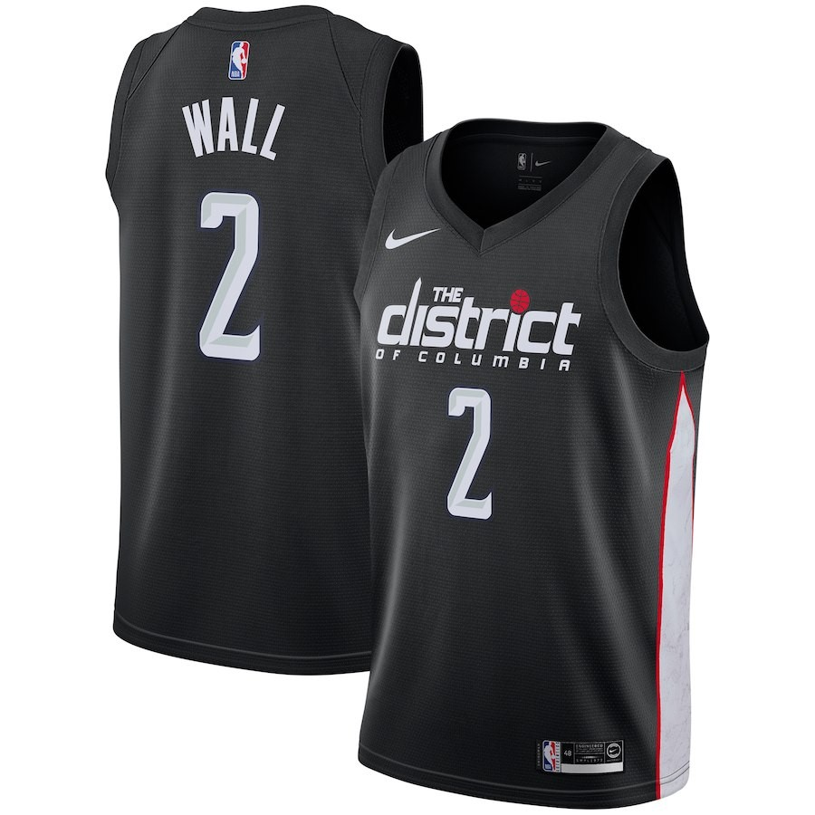 Camisetas NBA Niño Washington Wizards NO.2 John Wall Nike Negro Ciudad 2018-19 Barats
