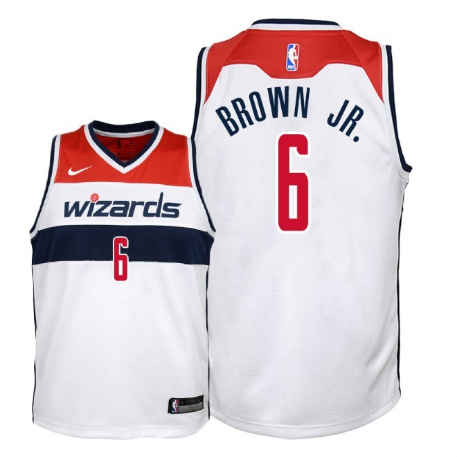 Camisetas NBA Niño Washington Wizards NO.6 Troy Brown Jr Blanco Association 2018 Barats