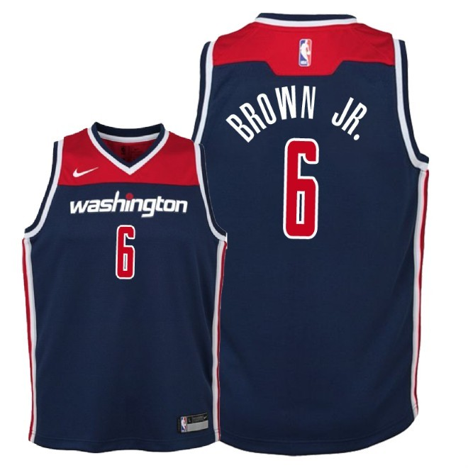 Camisetas NBA Niño Washington Wizards NO.6 Troy Brown Jr Marino Statement 2018 Barats