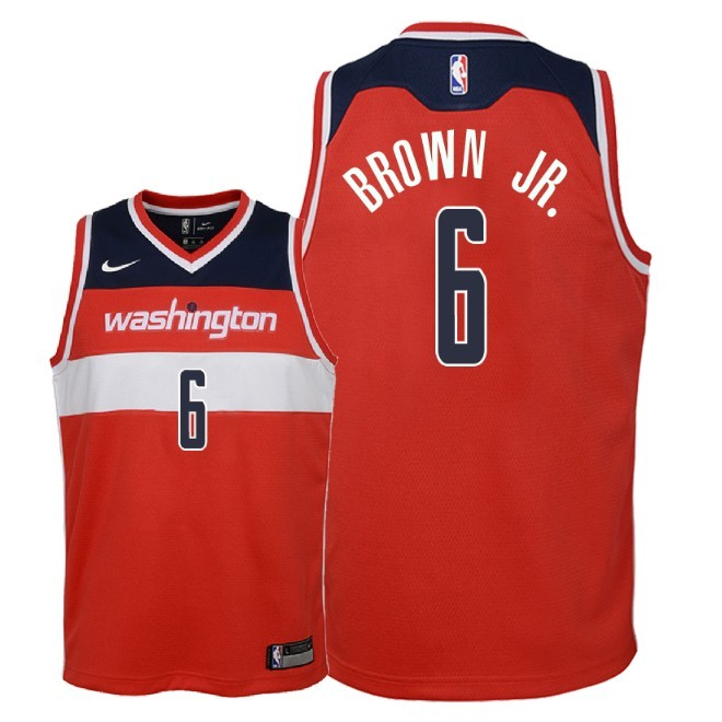 Camisetas NBA Niño Washington Wizards NO.6 Troy Brown Jr Rojo Icon 2018 Barats