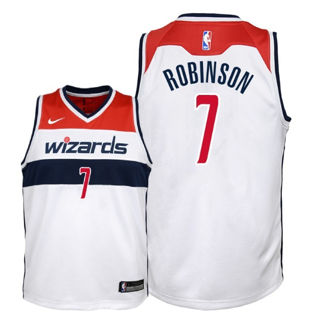 Camisetas NBA Niño Washington Wizards NO.7 Devin Robinson Blanco Association 2018 Barats