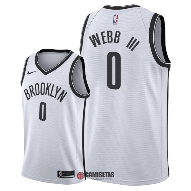 Camisetas NBA Nike Brooklyn Nets NO.0 James Webb III Blanco Association 2018 Barats