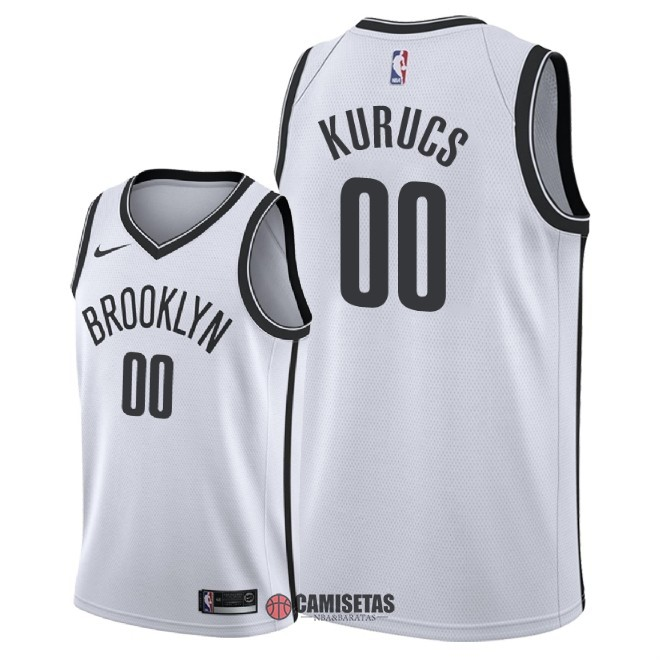 Camisetas NBA Nike Brooklyn Nets NO.0 Rodions Kurucs Blanco Association 2018 Barats