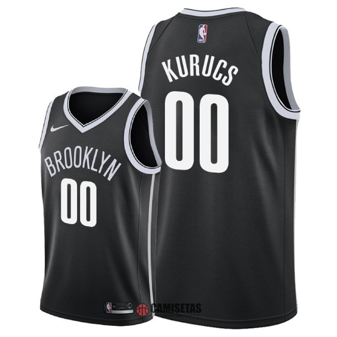 Camisetas NBA Nike Brooklyn Nets NO.0 Rodions Kurucs Negro Icon 2018 Barats