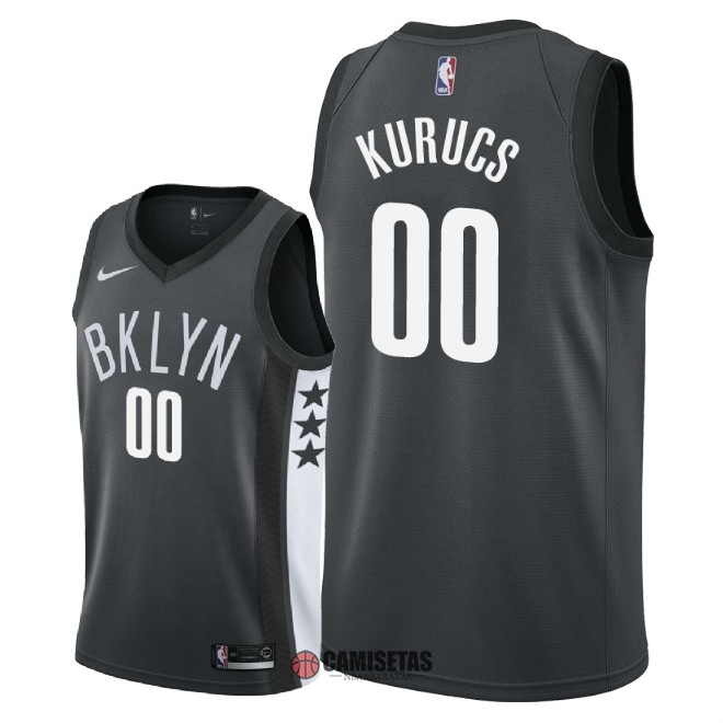Camisetas NBA Nike Brooklyn Nets NO.0 Rodions Kurucs Negro Statement 2018 Barats