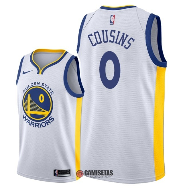 Camisetas NBA Nike Golden State Warriors NO.0 DeMarcus Cousins Blanco Association 2018 Barats
