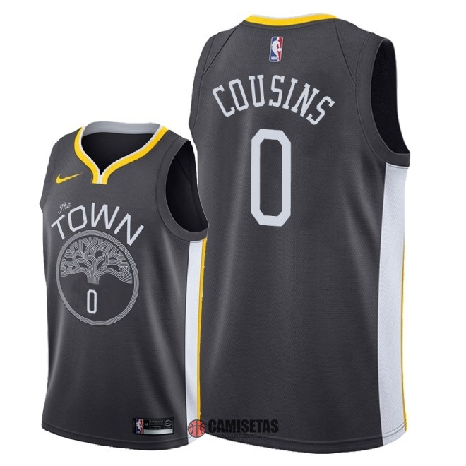 Camisetas NBA Nike Golden State Warriors NO.0 DeMarcus Cousins Negro Statement 2018 Barats