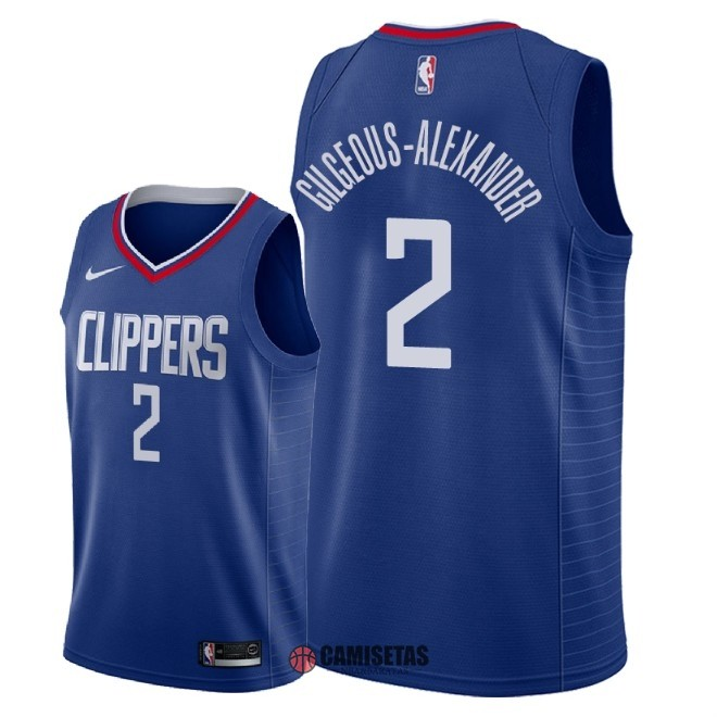 Camisetas NBA Nike Los Angeles Clippers NO.2 Shai Gilgeous Alexander Azul Icon 2018 Barats