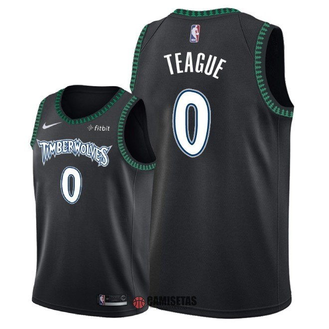 Camisetas NBA Nike Minnesota Timberwolves NO.0 Jeff Teague Retro Negro 2018 Barats