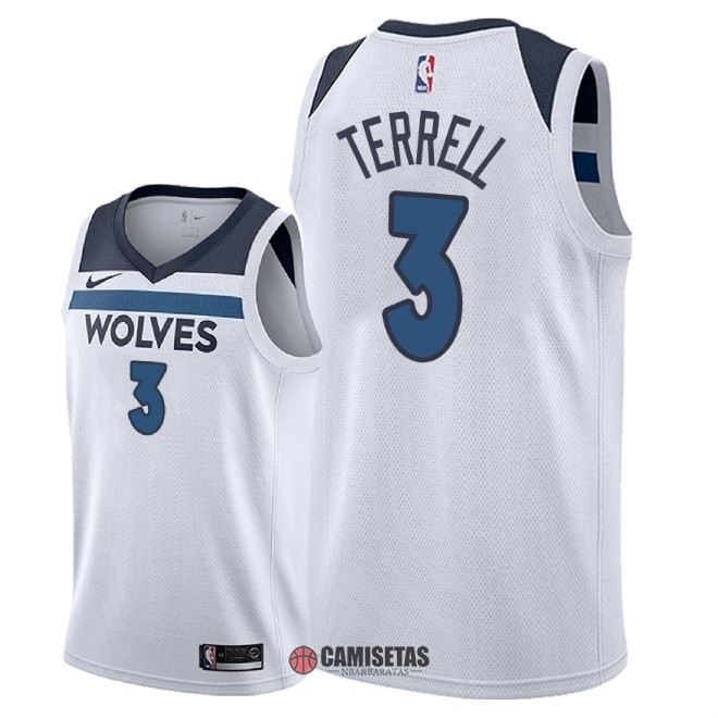 Camisetas NBA Nike Minnesota Timberwolves NO.3 Jared Terrell Blanco Association 2018 Barats