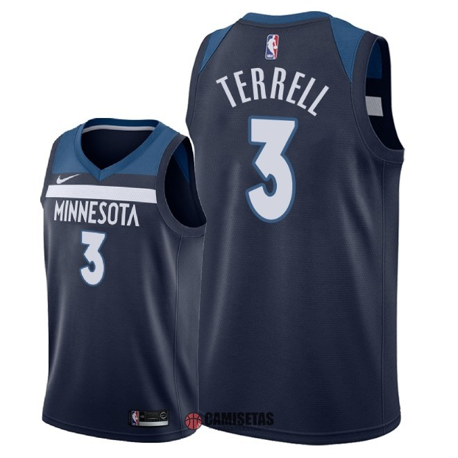 Camisetas NBA Nike Minnesota Timberwolves NO.3 Jared Terrell Marino Icon 2018 Barats