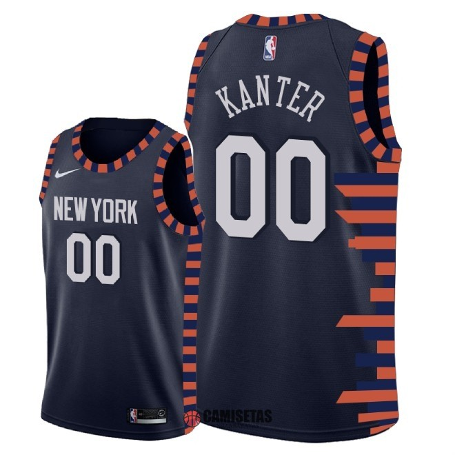 Camisetas NBA Nike New York Knicks NO.0 Enes Kanter Nike Marino Ciudad 2018-19 Barats