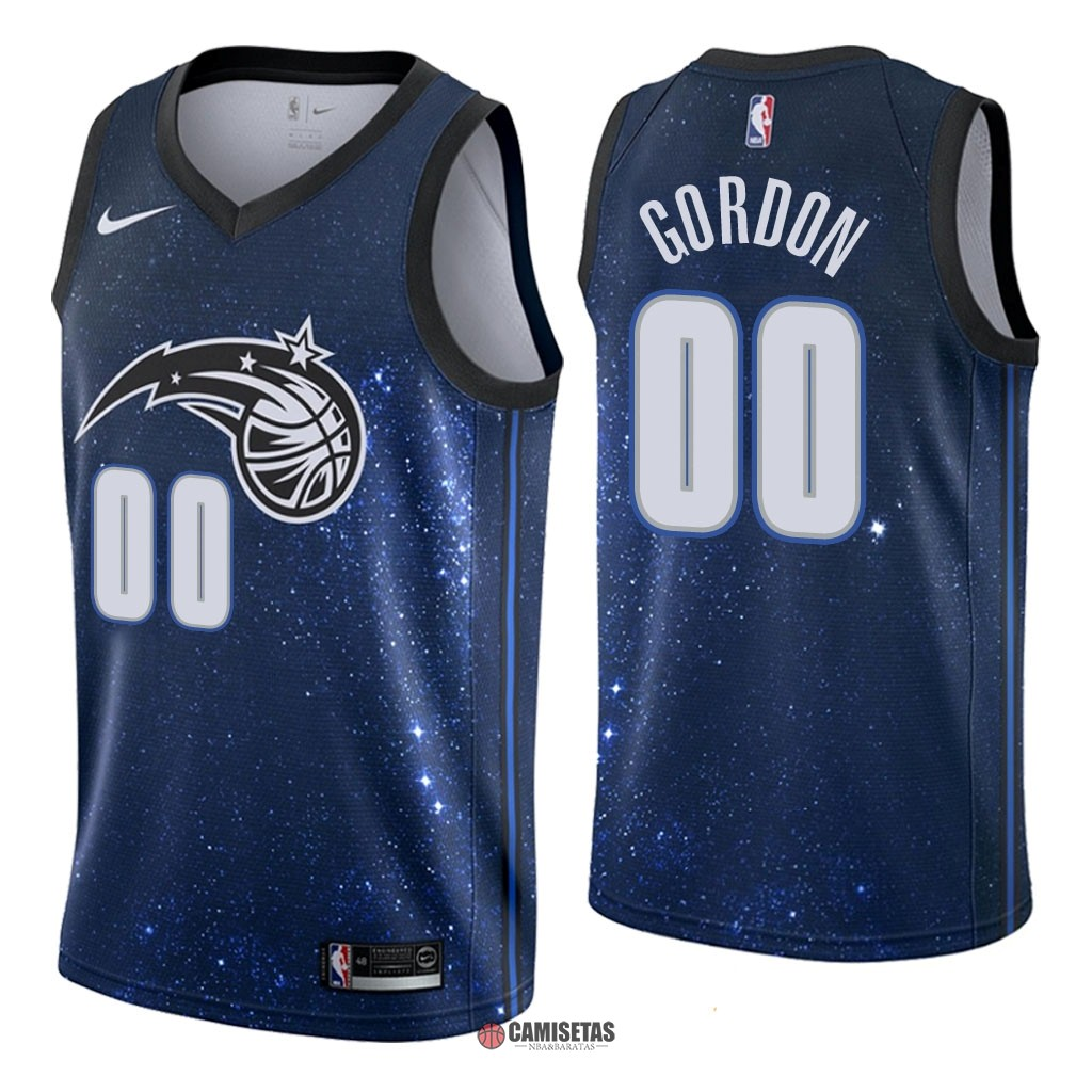 Camisetas NBA Nike Orlando Magic NO.0 Aaron Gordon Nike Marino Ciudad 2018 Barats