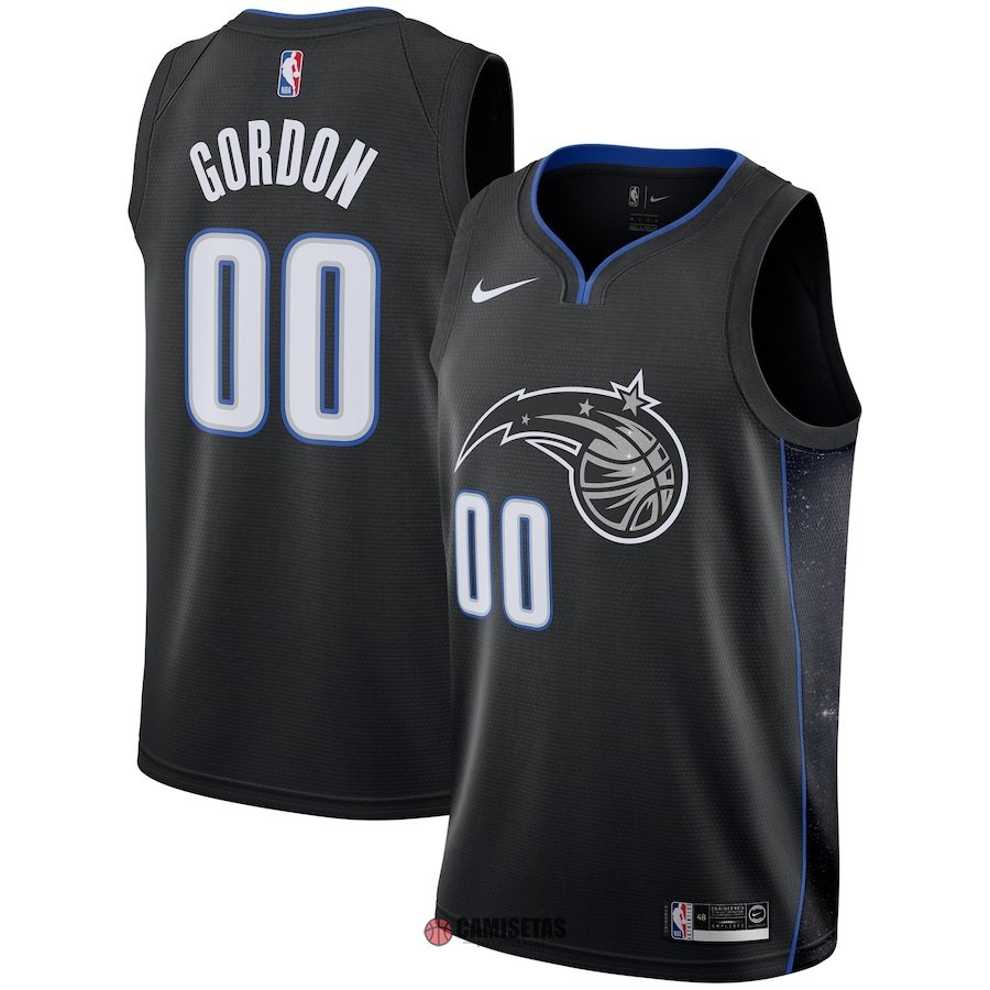 Camisetas NBA Nike Orlando Magic NO.0 Aaron Gordon Nike Negro Ciudad 2018-19 Barats