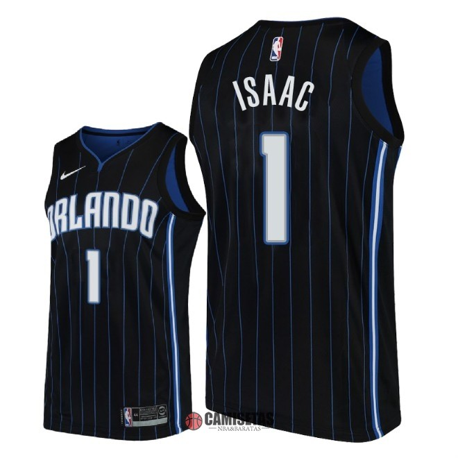 Camisetas NBA Nike Orlando Magic NO.1 Jonathan Isaac Negro Statement 2018 Barats
