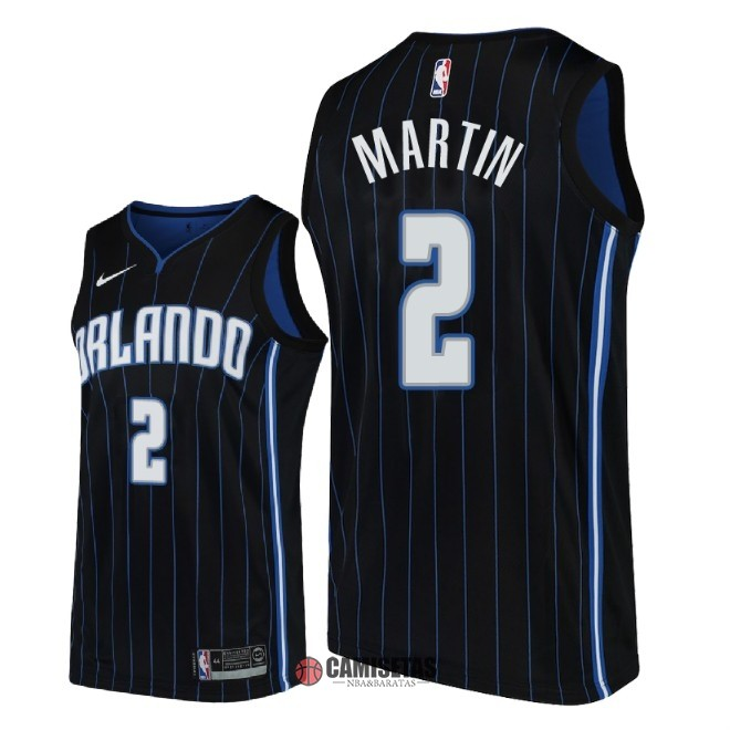 Camisetas NBA Nike Orlando Magic NO.2 Jarell Martin Negro Statement 2018-19 Barats