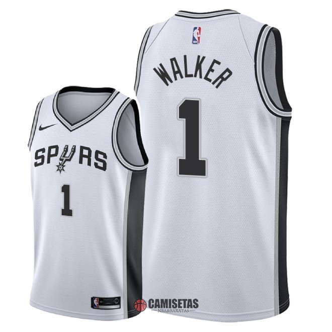 Camisetas NBA Nike San Antonio Spurs NO.1 Lonnie Walker Blanco Association 2018 Barats