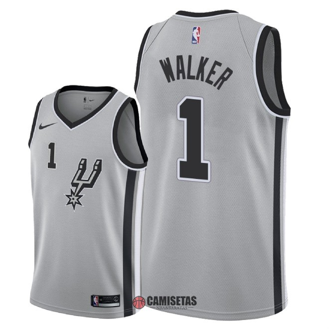 Camisetas NBA Nike San Antonio Spurs NO.1 Lonnie Walker Gris Statement 2018 Barats