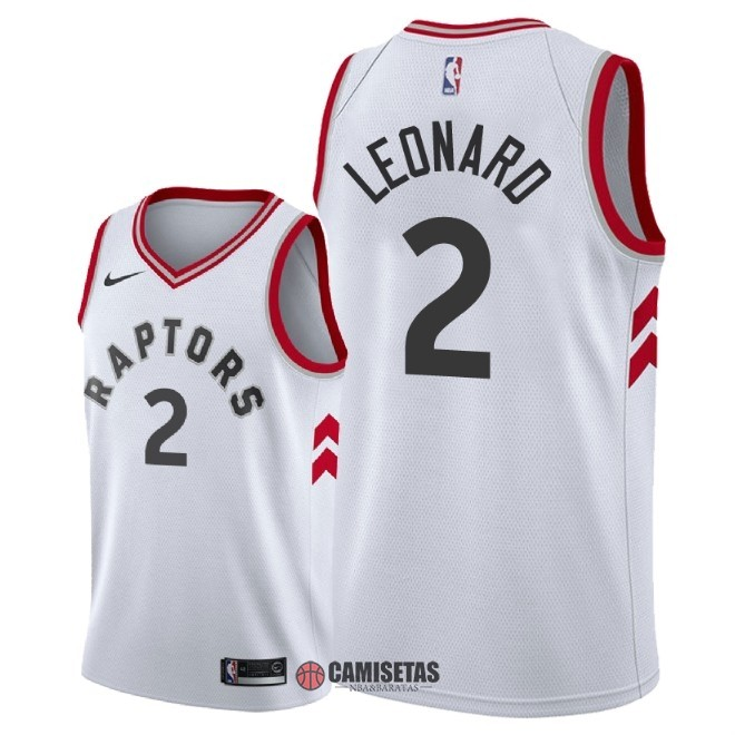 Camisetas NBA Nike Toronto Raptors NO.2 Kawhi Leonard Blanco Association 2018 Barats