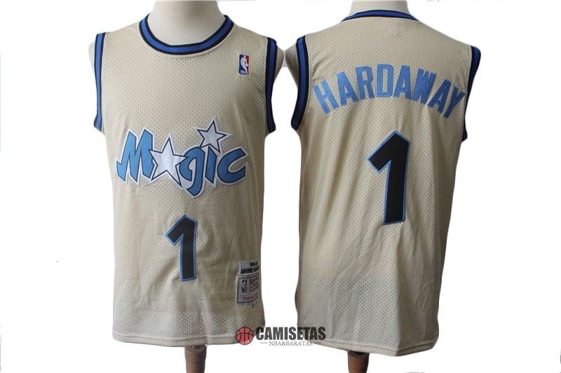 Camisetas NBA Orlando Magic NO.1 Anfernee Hardaway Retro Crema 1993-94 Barats
