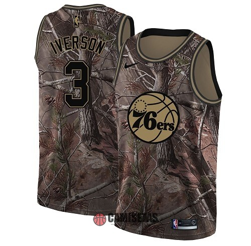 Camisetas NBA Philadelphia Sixers NO.3 Allen Iverson Camo Swingman Realtree Collection 2018 Barats