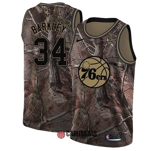 Camisetas NBA Philadelphia Sixers NO.34 Charles Barkley Camo Swingman Realtree Collection 2018 Barats