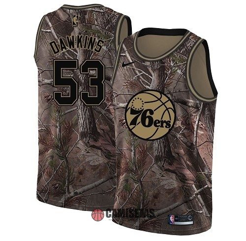 Camisetas NBA Philadelphia Sixers NO.53 Darryl Dawkins Camo Swingman Realtree Collection 2018 Barats