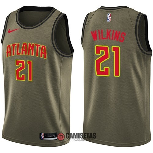 Camisetas NBA Salute To Servicio Atlanta Hawks NO.21 Dominique Wilkins Nike Ejercito Verde 2018 Barats