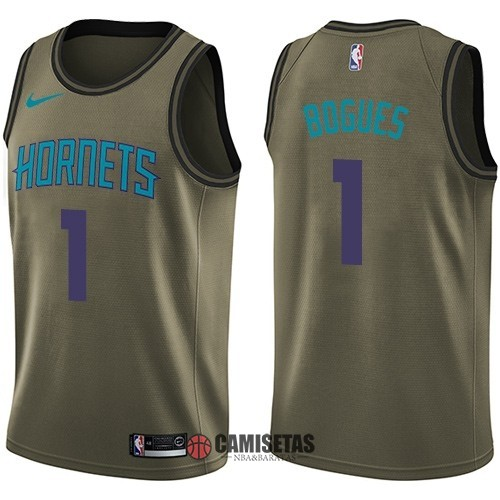 Camisetas NBA Salute To Servicio Charlotte Hornets NO.1 Muggsy Bogues Nike Ejercito Verde 2018 Barats
