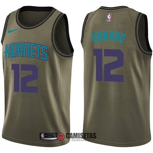 Camisetas NBA Salute To Servicio Charlotte Hornets NO.12 Dwight Howard Nike Ejercito Verde 2018 Barats