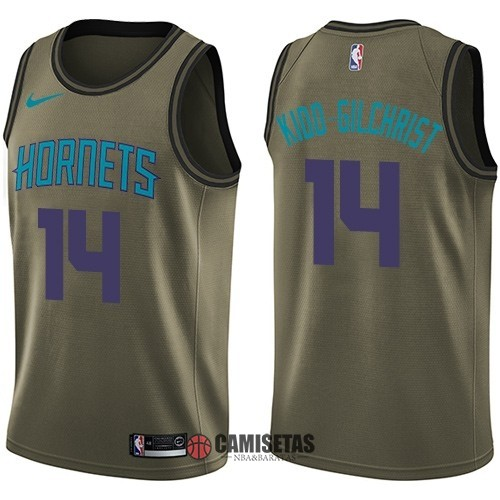 Camisetas NBA Salute To Servicio Charlotte Hornets NO.14 Michael Kidd Gilchrist Nike Ejercito Verde 2018 Barats