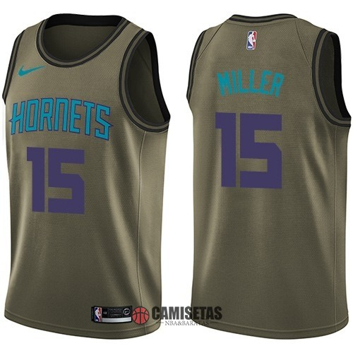 Camisetas NBA Salute To Servicio Charlotte Hornets NO.15 Percy Miller Nike Ejercito Verde 2018 Barats