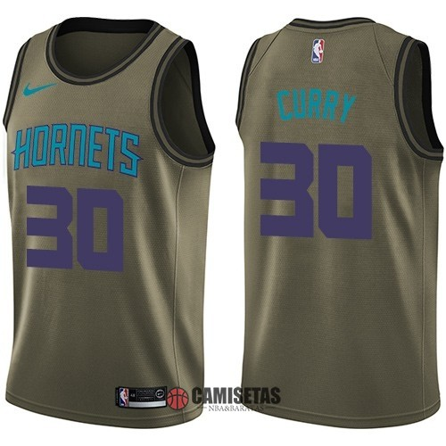 Camisetas NBA Salute To Servicio Charlotte Hornets NO.30 Dell Curry Nike Ejercito Verde 2018 Barats
