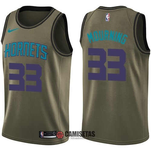 Camisetas NBA Salute To Servicio Charlotte Hornets NO.33 Alonzo Mourning Nike Ejercito Verde 2018 Barats
