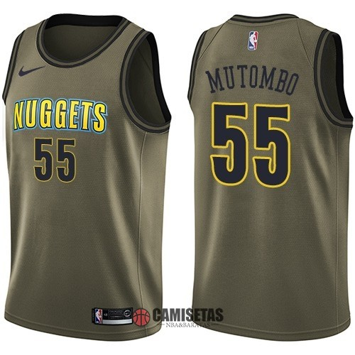 Camisetas NBA Salute To Servicio Denver Nuggets NO.55 Dikembe Mutombo Nike Ejercito Verde 2018 Barats
