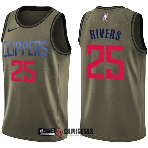Camisetas NBA Salute To Servicio Los Angeles Clippers NO.25 Austin Rivers Nike Ejercito Verde 2018 Barats