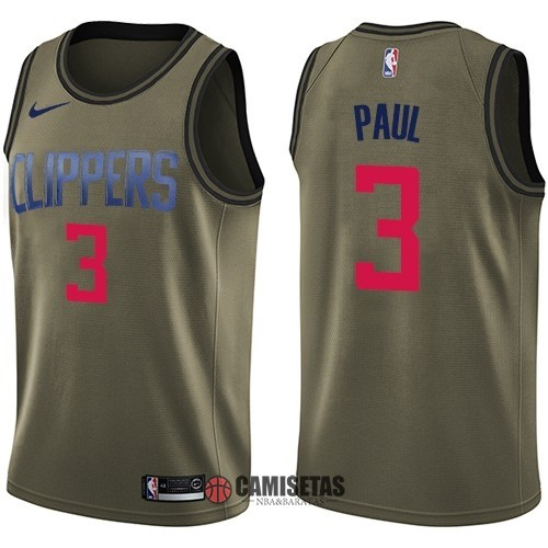 Camisetas NBA Salute To Servicio Los Angeles Clippers NO.3 Chris Paul Nike Ejercito Verde 2018 Barats