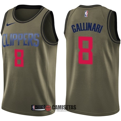 Camisetas NBA Salute To Servicio Los Angeles Clippers NO.8 Danilo Gallinari Nike Ejercito Verde 2018 Barats