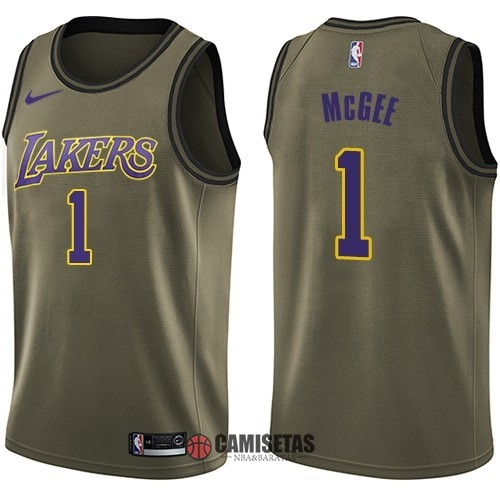 Camisetas NBA Salute To Servicio Los Angeles Lakers NO.1 Javale McGee Nike Ejercito Verde 2018 Barats