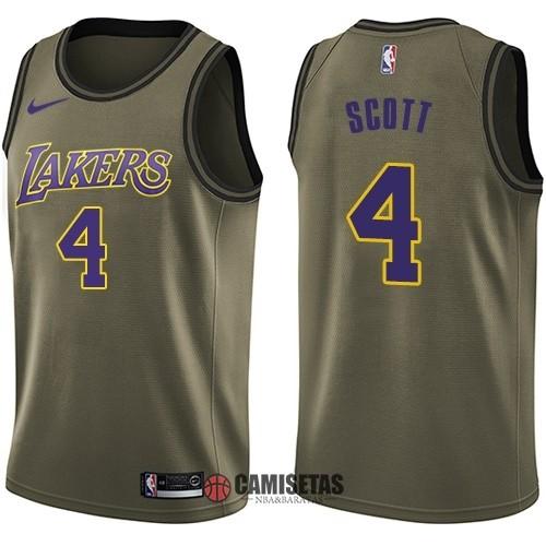 Camisetas NBA Salute To Servicio Los Angeles Lakers NO.4 Byron Scott Nike Ejercito Verde 2018 Barats