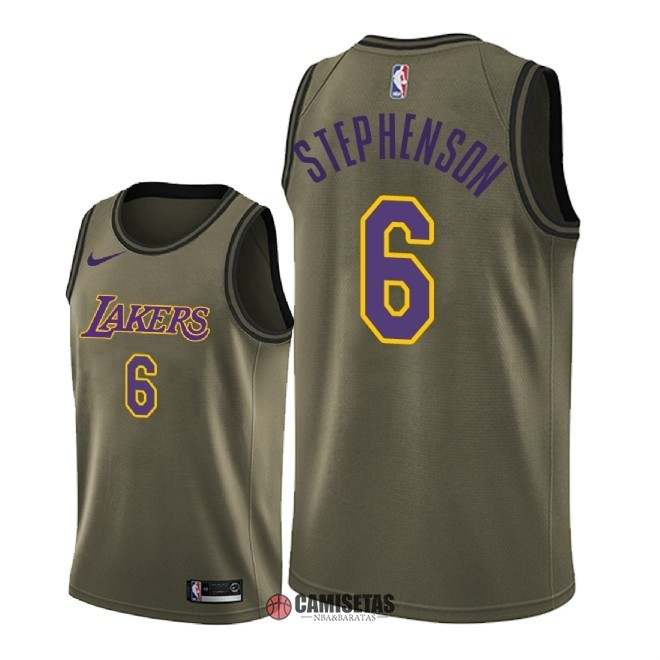 Camisetas NBA Salute To Servicio Los Angeles Lakers NO.6 Lance Stephenson Nike Ejercito Verde 2018 Barats