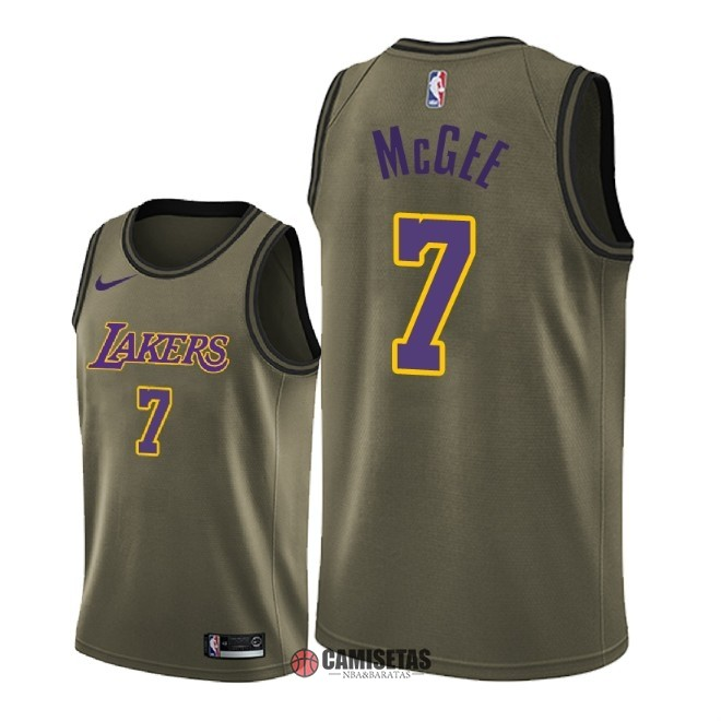 Camisetas NBA Salute To Servicio Los Angeles Lakers NO.7 JaVale McGee Nike Ejercito Verde 2018 Barats