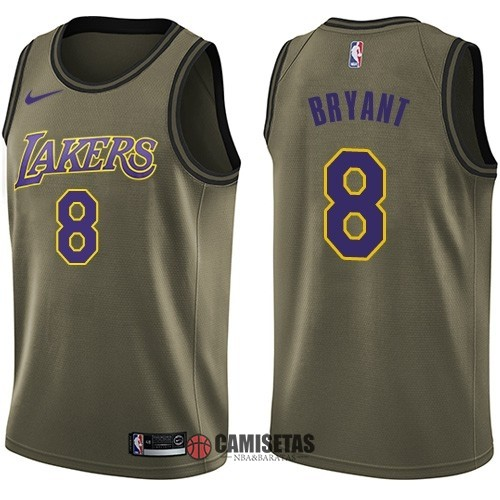 Camisetas NBA Salute To Servicio Los Angeles Lakers NO.8 Kobe Bryant Nike Ejercito Verde 2018 Barats